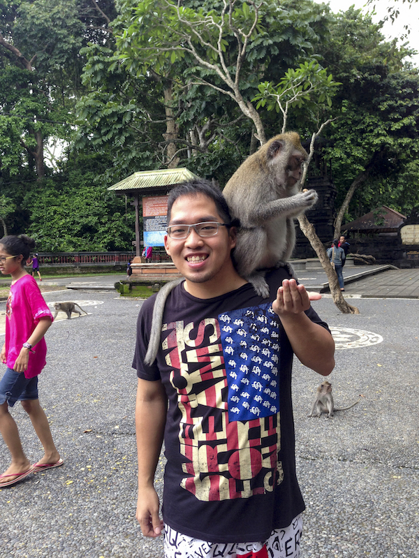 Photo with monkey in Alas Kedaton Bali