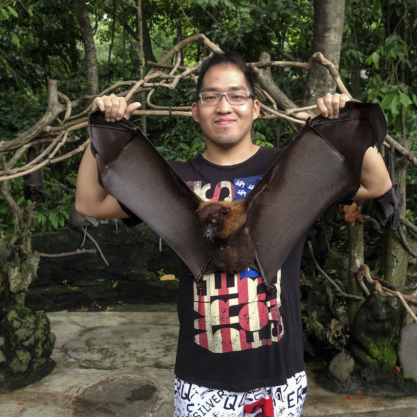 Photo with Bat at Alas Kedaton in Bali
