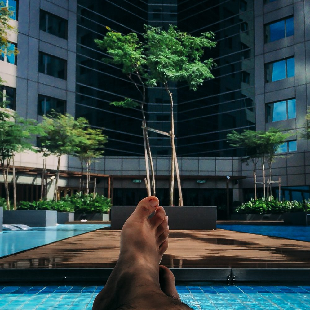 Chilling out at the pool in Double Tree Hotel Johor Bahru