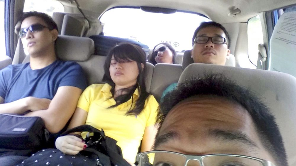 Sleeping in the taxi to Johor Bahru