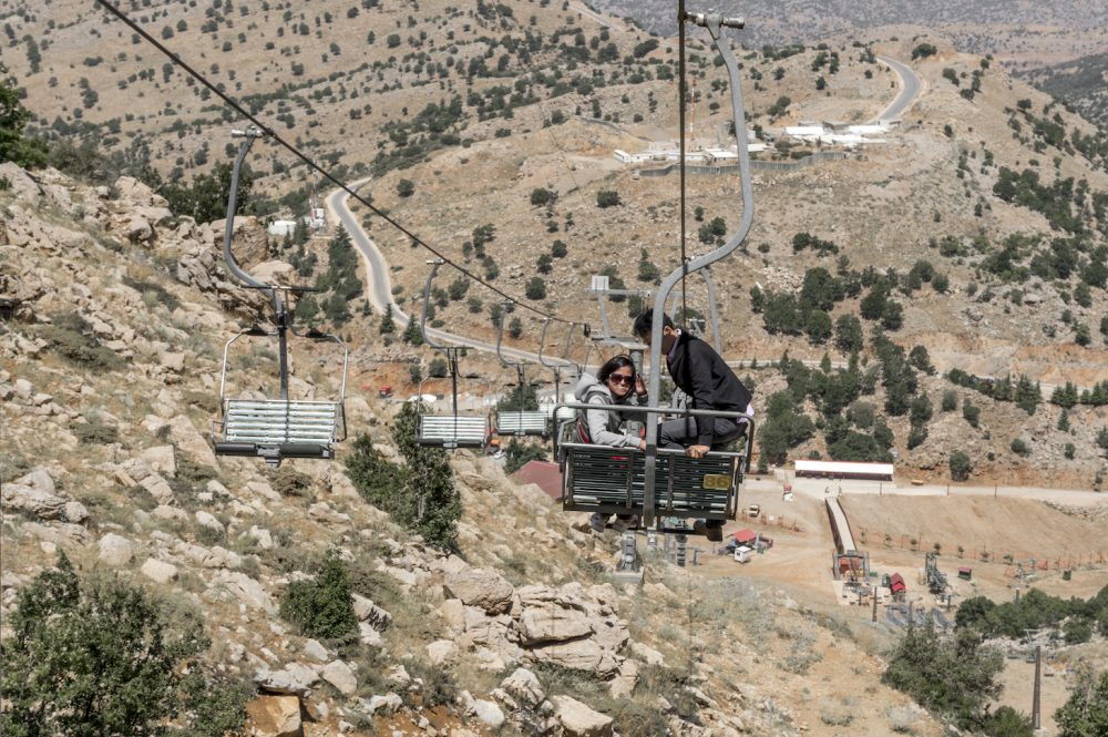 Standing at the cable ride Mount Hermon