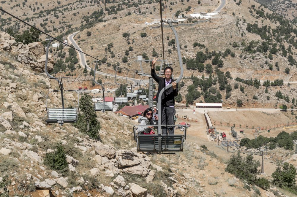 Standing at the cable ride Mount Hermon Israel