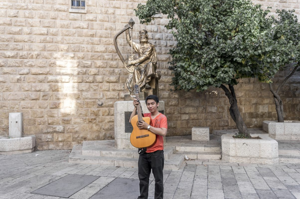 King David statue with his lyre in Jerusalem