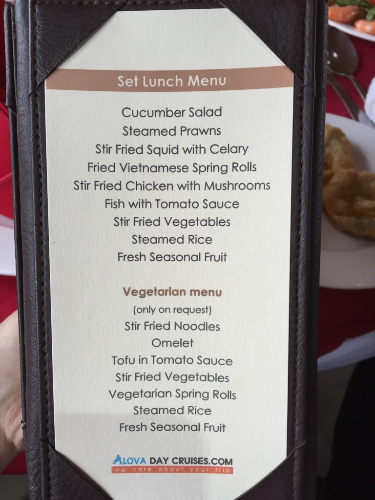 Alova Cruise Lunch Menu Halong Bay