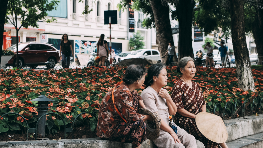 Three old lady at Hoan Kiem Lake